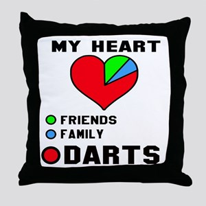 My Heart Friends, Family and Darts Throw Pillow