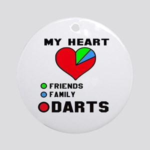 My Heart Friends, Family and Darts Round Ornament