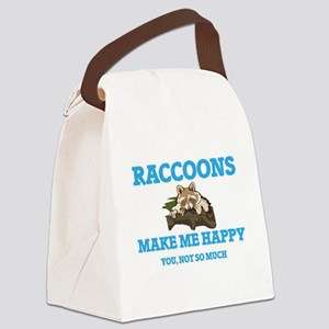 Raccoons Make Me Happy Canvas Lunch Bag