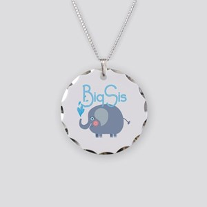 Elephant Big Sis Necklace Circle Charm