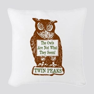 The Owls Are Not What They See Woven Throw Pillow
