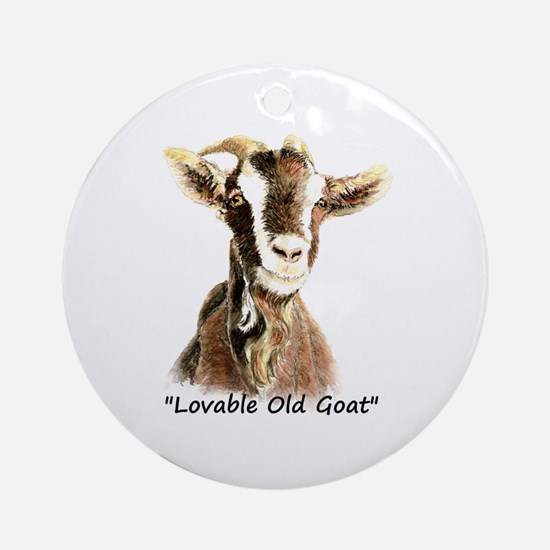 Lovable Old Goat Fun Quote for Him Ornament (Round