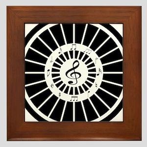 Stylish black white musical notes design Framed Ti