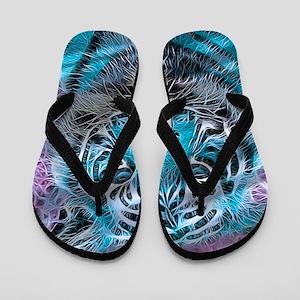 Crazy blue Tiger (C) Flip Flops