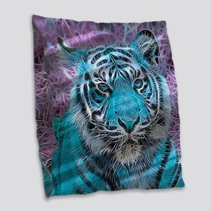 Crazy blue Tiger (C) Burlap Throw Pillow