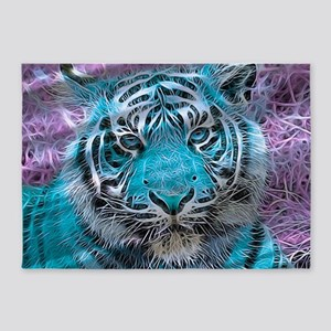 Crazy blue Tiger (C) 5'x7'Area Rug
