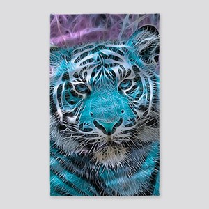 Crazy blue Tiger (C) 3'x5' Area Rug