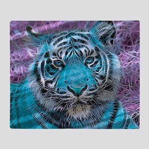 Crazy blue Tiger (C) Throw Blanket