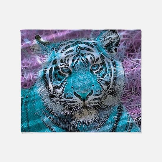 Crazy blue Tiger (C) Throw Blanket