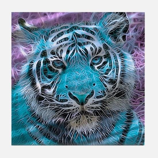 Crazy blue Tiger (C) Tile Coaster