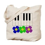 Piano Keyboard & Flowers Tote Bag