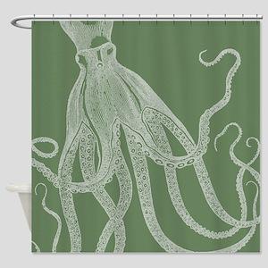 Exquisite Vintage Octopus In Rustic Shower Curtain