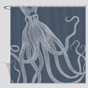 Vintage Octopus Illustration In Shower Curtain