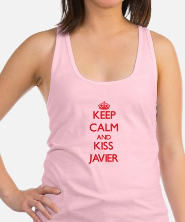 Keep Calm and Kiss Javier Racerback Tank Top