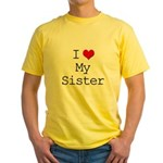 I Heart My Sister Yellow T-Shirt