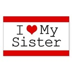 I Heart My Sister Rectangle Sticker