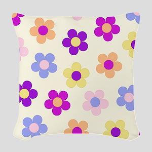 Flower Power Design Woven Throw Pillow