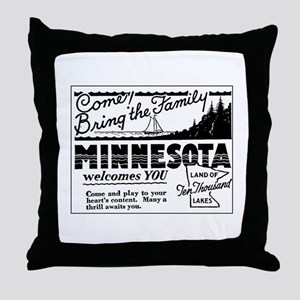 Thrilling Minnesota Retro Ad Throw Pillow
