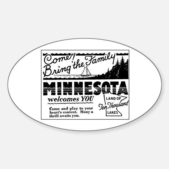 Thrilling Minnesota Retro Ad Oval Decal