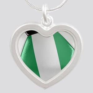 Nigeria Soccer Ball Silver Heart Necklace