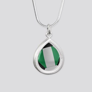 Nigeria Soccer Ball Silver Teardrop Necklace