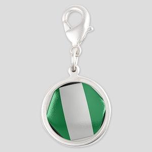 Nigeria Soccer Ball Silver Round Charm