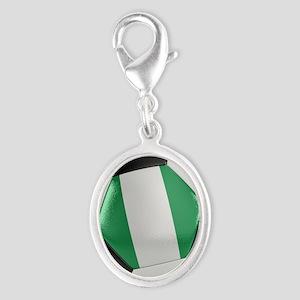 Nigeria Soccer Ball Silver Oval Charm
