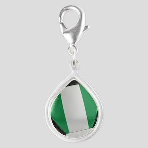 Nigeria Soccer Ball Silver Teardrop Charm