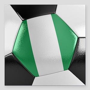 "Nigeria Soccer Ball Square Car Magnet 3"" x 3"""