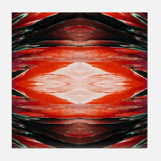 Tangerine Flash Rorschach Tile Coaster