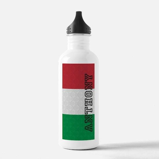 Monogram Italian Flag Damask Water Bottle