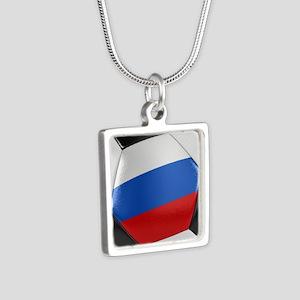 Russia Soccer Ball Silver Square Necklace