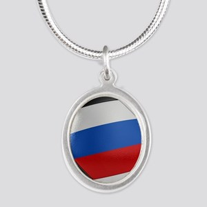 Russia Soccer Ball Silver Oval Necklace