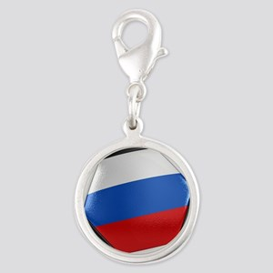 Russia Soccer Ball Silver Round Charm