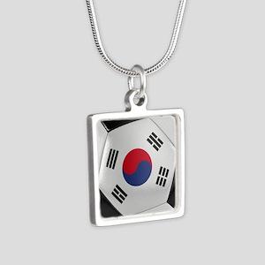 South Korea Soccer Ball Silver Square Necklace