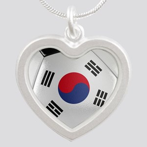 South Korea Soccer Ball Silver Heart Necklace