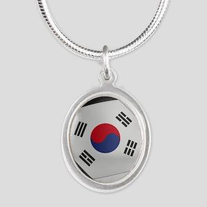 South Korea Soccer Ball Silver Oval Necklace