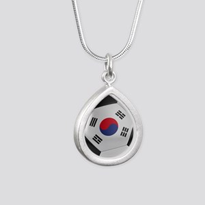 South Korea Soccer Ball Silver Teardrop Necklace