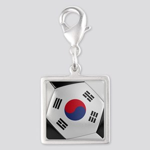 South Korea Soccer Ball Silver Square Charm