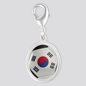 South Korea Soccer Ball Silver Oval Charm