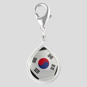 South Korea Soccer Ball Silver Teardrop Charm