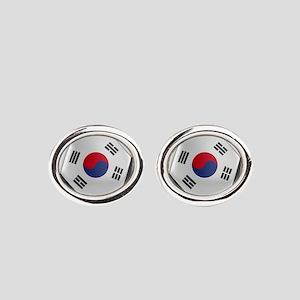 South Korea Soccer Ball Oval Cufflinks