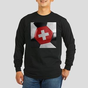 Switzerland Soccer Ball Long Sleeve Dark T-Shirt
