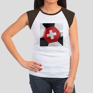 Switzerland Soccer Ball Women's Cap Sleeve T-Shirt