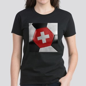 Switzerland Soccer Ball Women's Dark T-Shirt