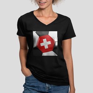 Switzerland Soccer Bal Women's V-Neck Dark T-Shirt