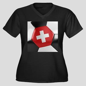 Switzerland Women's Plus Size V-Neck Dark T-Shirt