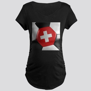 Switzerland Soccer Ball Maternity Dark T-Shirt