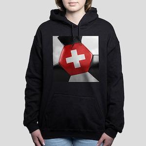 Switzerland Soccer Ball Women's Hooded Sweatshirt