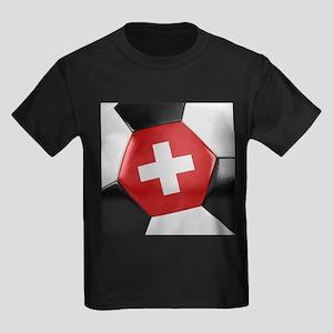 Switzerland Soccer Ball Kids Dark T-Shirt